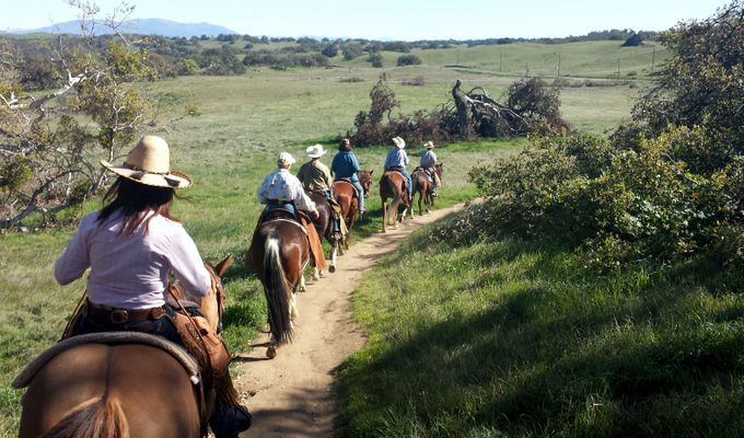A group of equestrians enjoying one of the many multi-purpose trails in the area
