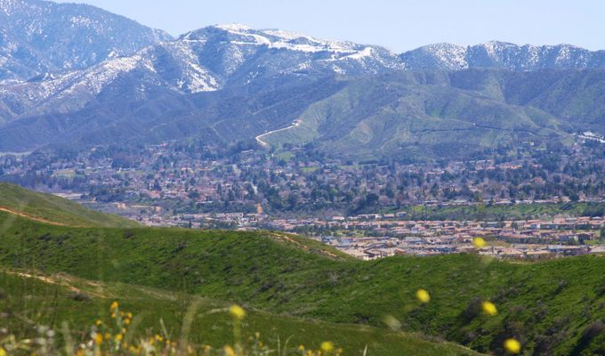 View from Crafton Hills over Yucaipa towards Wildwood Canyon and Oak Glen