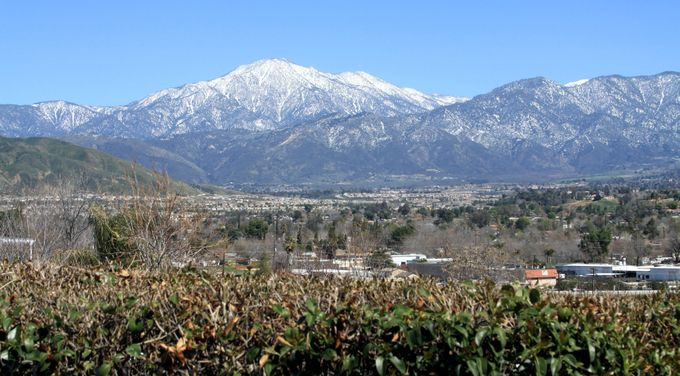 View of the San Bernardino Mountain Range from across the Yucaipa Valley